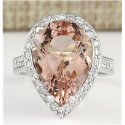 9.83 CTW Natural Morganite And Diamond Ring In 18K White Gold