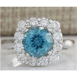 5.33 CTW Natural Blue Zircon And Diamond Ring 18K Solid White Gold