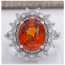 5.90CTW Natural Mandarin Garnet And Diamond Ring In18K White Gold