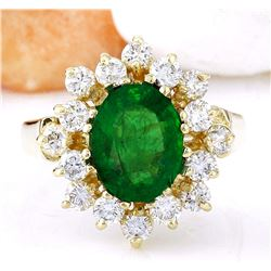 2.54 CTW Natural Emerald 18K Solid Yellow Gold Diamond Ring