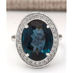11.78 CTW Natural London Blue Topaz And Diamond Ring In18K Solid White Gold