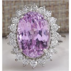 11.03 CTW Natural Pink Kunzite And Diamond Ring In 18K White Gold