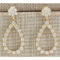 4.50 CTW Natural Diamond Earrings In 18K Yellow Gold