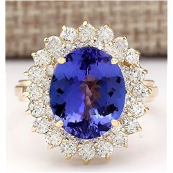 7.22 CTW Natural Tanzanite And Diamond Ring In 18K Yellow Gold
