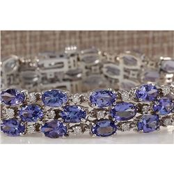 23.85CTW Natural Tanzanite And Diamond Bracelet In 14K Solid White Gold