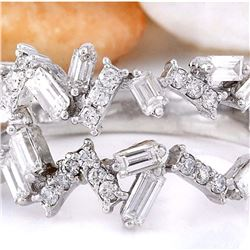 1.26 CTW Natural Diamond 18K Solid White Gold Ring