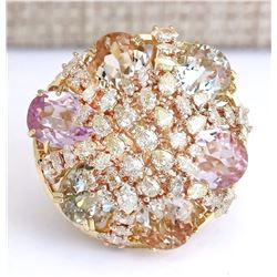 26.40 CTW Natural Multi-stone And Diamond Ring In 18K Yellow Gold