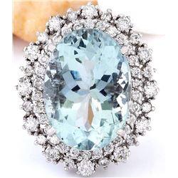 13.37 CTW Natural Aquamarine 14K Solid White Gold Diamond Ring