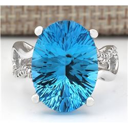 13.90 CTW Natural Blue Topaz And Diamond Ring In18K Solid White Gold