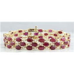 37.96 CTW Ruby 18K Yellow Gold Diamond Bracelet