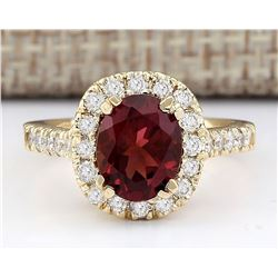 2.63 CTW Natural Pink Sapphire And Diamond Ring In 18K Yellow Gold
