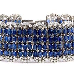 68.50 CTW Natural Sapphire 14K Solid White Gold Diamond Bracelet