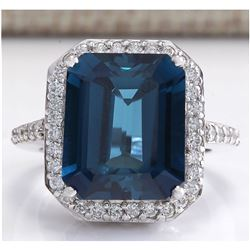 10.73CTW Natural London Blue Topaz And Diamond Ring In 14K White Gold