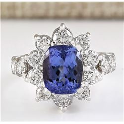 6.56 CTW Natural Blue Tanzanite And Diamond Ring 18K Solid White Gold