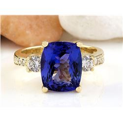 5.65 CTW Natural Tanzanite 18K Solid Yellow Gold Diamond Ring