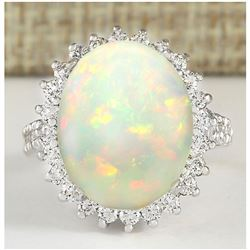 9.29 CTW Natural Opal And Diamond Ring In18K White Gold