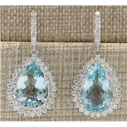 23.90 CTW Natural Blue Aquamarine And Diamond Earrin 14K Solid White Gold