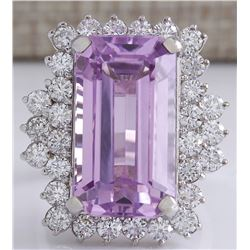 22.21 CTW Natural Pink Kunzite And Diamond Ring In 14K White Gold
