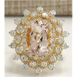 6.33 CTW Natural Peach Morganite And Diamond Ring In 18K Solid Yellow Gold