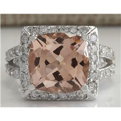 8.42 CTW Natural Peach Morganite And Diamond Ring In 18K Solid White Gold