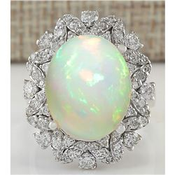 8.15 CTW Natural Opal And Diamond Ring In 14K White Gold
