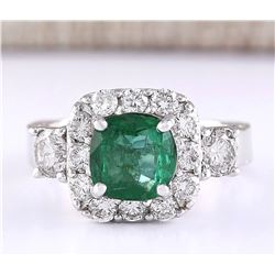 3.46 CTW Natural Emerald And Diamond Ring In 18K White Gold