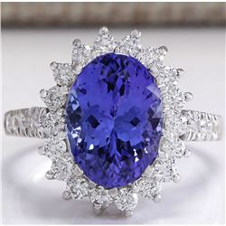 5.08 CTW Natural Blue Tanzanite And Diamond Ring In 14K White Gold