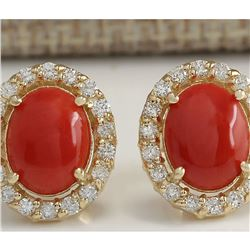 3.10 CTW Natural Red Coral And Diamond Earrings 18K Solid Yellow Gold