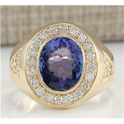 4.95 CTW Natural Tanzanite And Diamond Ring In 18K Yellow Gold