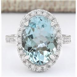 6.90 CTW Natural Aquamarine And Diamond Ring In 18K White Gold