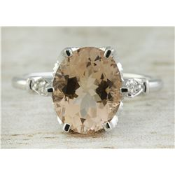 3.41 CTW Morganite 14K White Gold Diamond Ring
