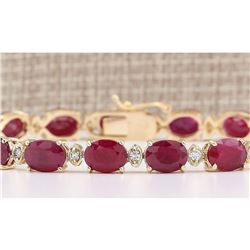 28.58 CTW Natural Red Ruby And Diamond Bracelet In 14k Yellow Gold