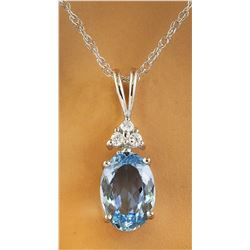 1.51 CTW Aquamarine 14K White Gold Diamond Necklace