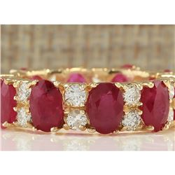 7.48 CTW Natural Ruby And Diamond Ring In 14K Yellow Gold