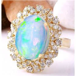 7.68 CTW Natural Opal 14K Solid Yellow Gold Diamond Ring
