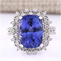 10.30 CTW Natural Blue Tanzanite And Diamond Ring 18K Solid White Gold