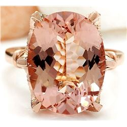 8.95 CTW Natural Morganite 18K Solid Rose Gold Diamond Ring