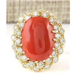9.58 CTW Natural Coral And Diamond Ring In 18K Yellow Gold