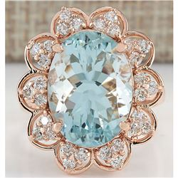 8.16 CTW Natural Aquamarine And Diamond Ring In 18K Rose Gold