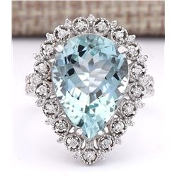 7.81 CTW Natural Aquamarine And Diamond Ring In 18K White Gold