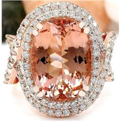 11.51 CTW Natural Morganite 14K Solid Rose Gold Diamond Ring