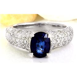 3.22 CTW Natural Sapphire 18K Solid White Gold Diamond Ring