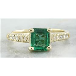 1.63 CTW Emerald 14K Yellow Gold Diamond Ring