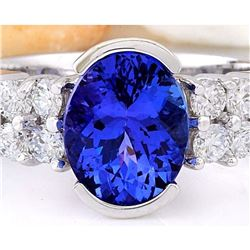 3.28 CTW Natural Tanzanite 18K Solid White Gold Diamond Ring