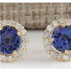 3.65 CTW Natural Blue Tanzanite And Diamond Earrings 18K Solid Yellow Gold