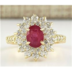 2.80 CTW Natural Ruby And Diamond Ring In 18K Yellow Gold