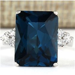 7.30 CTW Natural London Blue Topaz And Diamond Ring In18K Solid White Gold