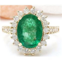 4.23 CTW Natural Emerald 18K Solid Yellow Gold Diamond Ring