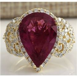 8.27 CTW Natural Rubelite And Diamond Ring 18K Solid Yellow Gold