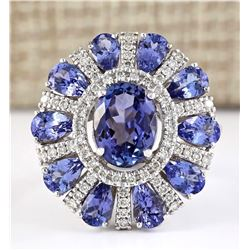 8.41 CTW Natural Tanzanite And Diamond Ring In 18K White Gold